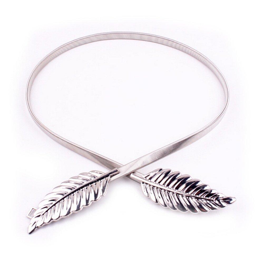 UEETEK 2pcs cintura cinturón elástico hojas Metal elástico cintura cintura Strap(Golden+Silver): Amazon.es: Hogar