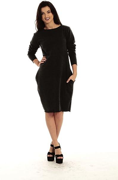 Ladies Womens Fleece Tulip Sweatshirt Knit Bodycon Tunic Long Dress Plus Size