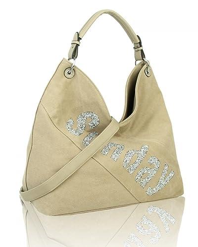 554195709 LeahWard Women's Fashion Diamante Sunday Print Shoulder Bag For Women  Handbags For College School Work (ALMOND W: 38 X H: 33 X D: 16 CM):  Amazon.co.uk: ...
