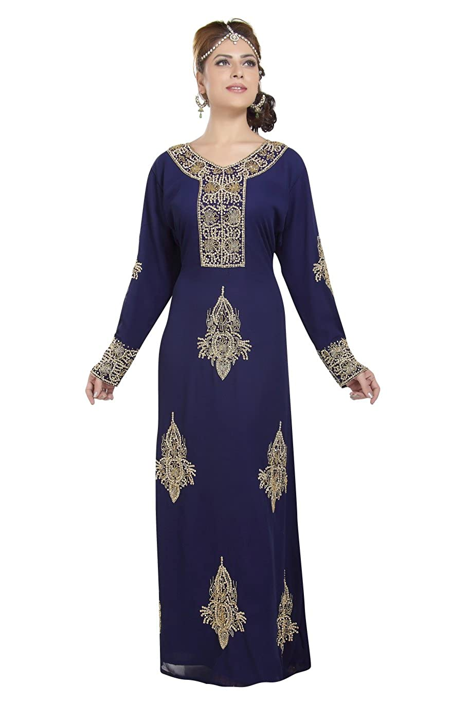 Amazon.com  Designer Wear Khaleeji Thobe for Ladies with Unique Embroidery  Design 6564  Clothing 3d410ec70