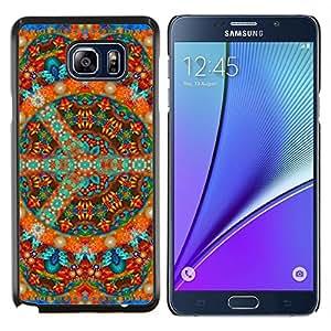 Caucho caso de Shell duro de la cubierta de accesorios de protección BY RAYDREAMMM - Samsung Galaxy Note 5 5th N9200 - Mandala Arte Tíbet budismo Arte Espiritual colorido