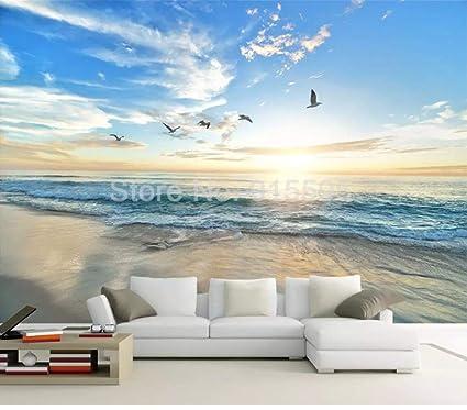 Papel tapiz fotográfico Gaviota 3D Cielo azul Nubes blancas ...