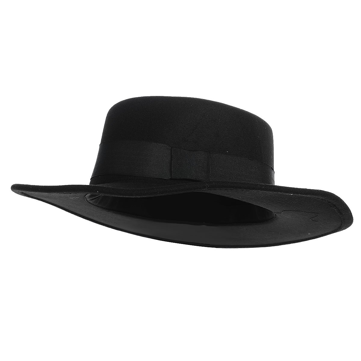 Flat Top Wide Brim Round Headgear Vintage Cap Wool Felt Fedora Hat - Black