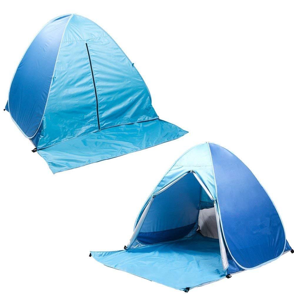 HIEMAO Pop Up Tent, Beach Tent Sun Shelter Instant Sun Shade Portable UV Tent Baby Sun Cabana with Zipper Door for Garden Beach Times for 2-3 Person