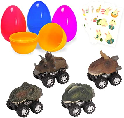 Colorful Pre Plastic Easter Eggs Toys For Kids Easter Gifts Easter Basket Stuffers Fillers with Stickers Large Surprise Eggs Filled 4 Pack Easter Eggs with Pull Back Dinosaur Cars Inside