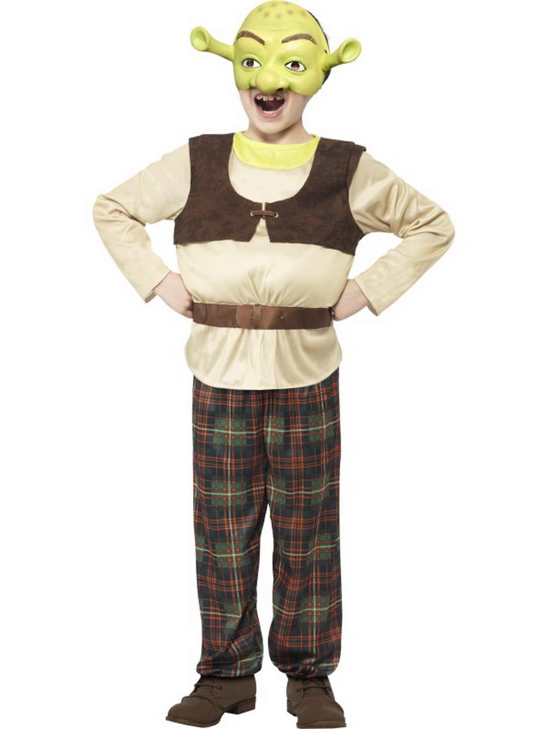 Fancy Ole 104-152 - Costume di Carnevale, da Bambino, con Parte Superiore Imbottita, Pantaloni e Maschera, colore  verde