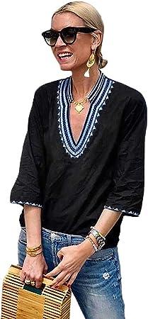 RENJIANFENG Mujeres Blusa Tops,Cuello En V Camisa Boho Impresión Manga Corta Verano Flojo Casual Bordado Blusas Tops,Blue,S: Amazon.es: Hogar