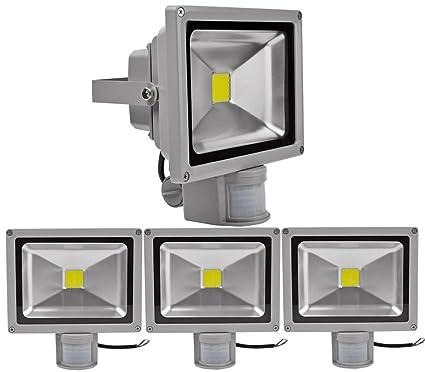 4pcs 20W Foco LED con Sensor Movimiento,ALPHA DIMA Foco Proyector con Iluminación LED y