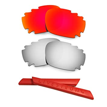 HKUCO Red/Blue Polarized Replacement Lenses plus Yellow Earsocks Rubber Kit For Oakley Racing Jacket sQPnJ