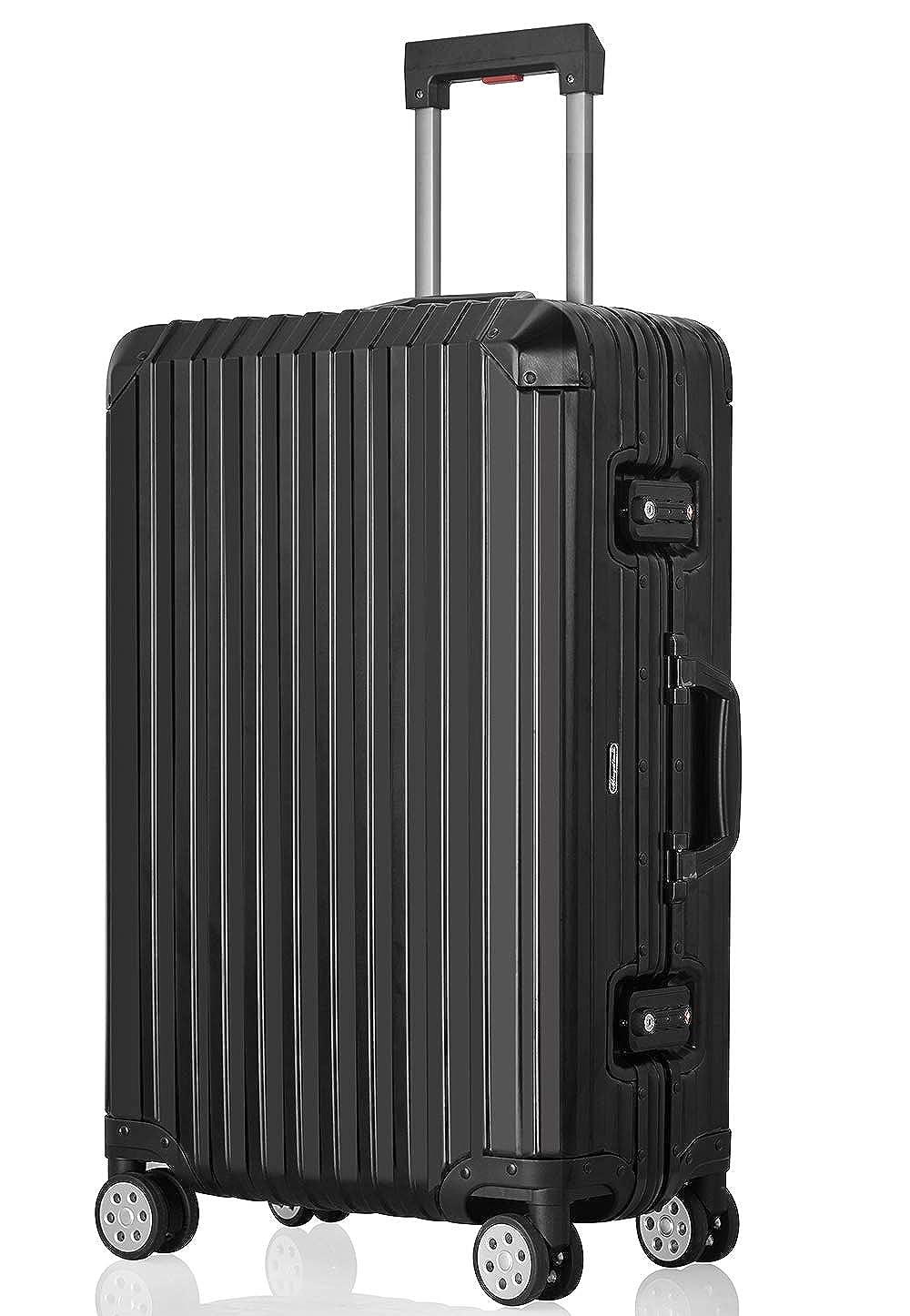 JINXIANGMEI アルミニウムマグネシウム合金スーツケース 機内持ち込みスーツケース 預け入れスーツケースTSAロック キャスター 海外旅行SA2020 B07K41Y8FG ブラック L