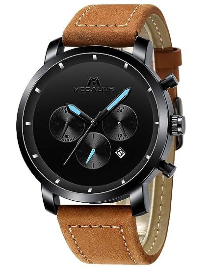Relojes Negro Hombre Reloj de Pulsera Militar Deportivo Impermeable Grandes Cronógrafo de Acero Inoxidable Reloj para Hombres Moda Analógico Negocios ...