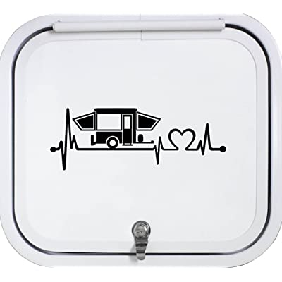 Bluegrass Decals Black Pop Up Camper Travel Trailer Heartbeat Lifeline 8 Inch Decal Sticker K1150BK: Automotive