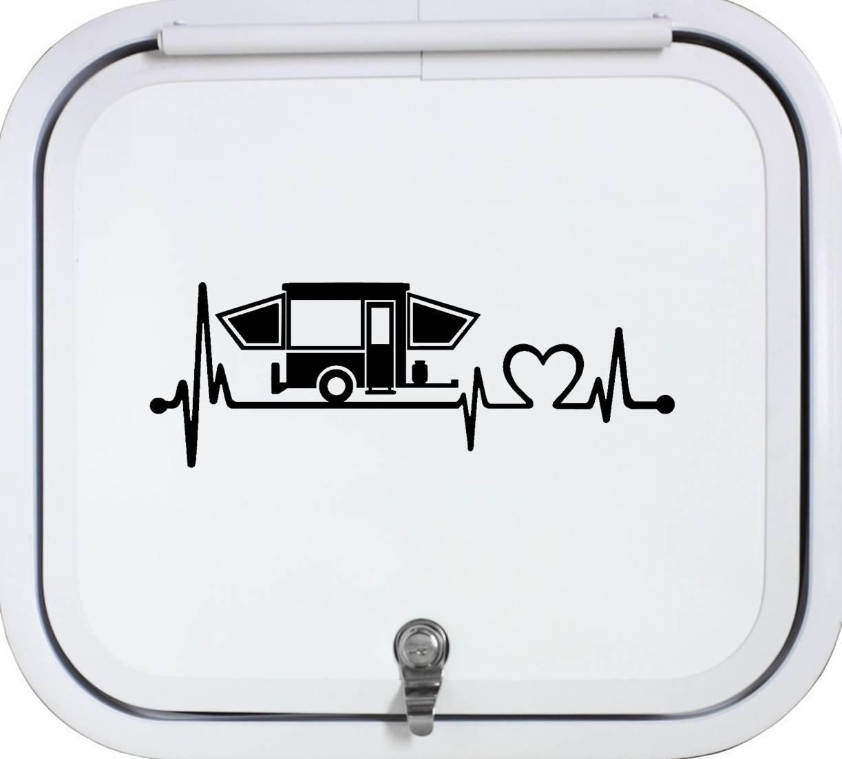 Bluegrass Decals Black Pop Up Camper Travel Trailer Heartbeat Lifeline 8 Inch Decal Sticker K1150BK