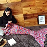 Mermaid Tail Blanket, NOT HOME® Warm and Soft Mermaid Blanket, Knitted Blankie Tails, All Seasons Cozy Sleeping Bags for Kids and Adults (Multi-color)