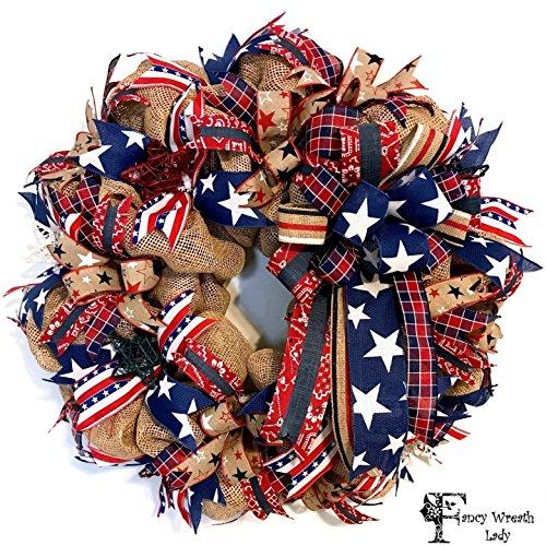 4th of July Burlap Front Door Wreath, Patriotic Wreath, Memorial Day Wreath, Ready to Ship