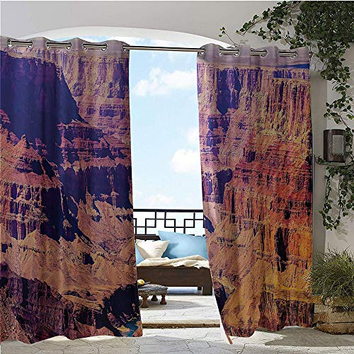 GUUVOR Patio Curtains, Grand Canyon in Arizona with Base Elevations North American Sublime Tribal Landscape, Outdoor Curtain for Patio,Outdoor Patio Curtains W96 x L108 Inch Brown