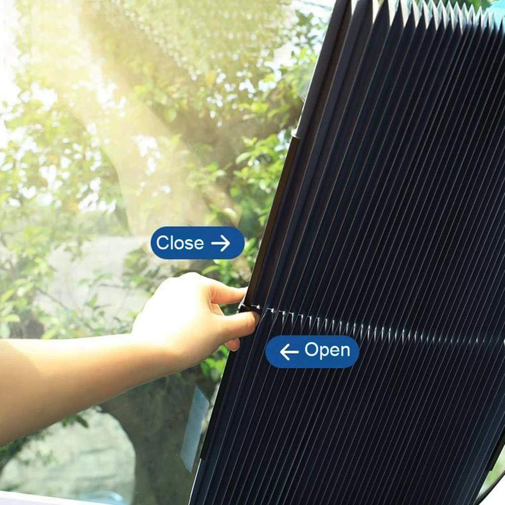 65CM//25.59IN Hamkaw Car Windshield Retractable Sun Shade Universal Auto Windshield Sunshade for Front Windows