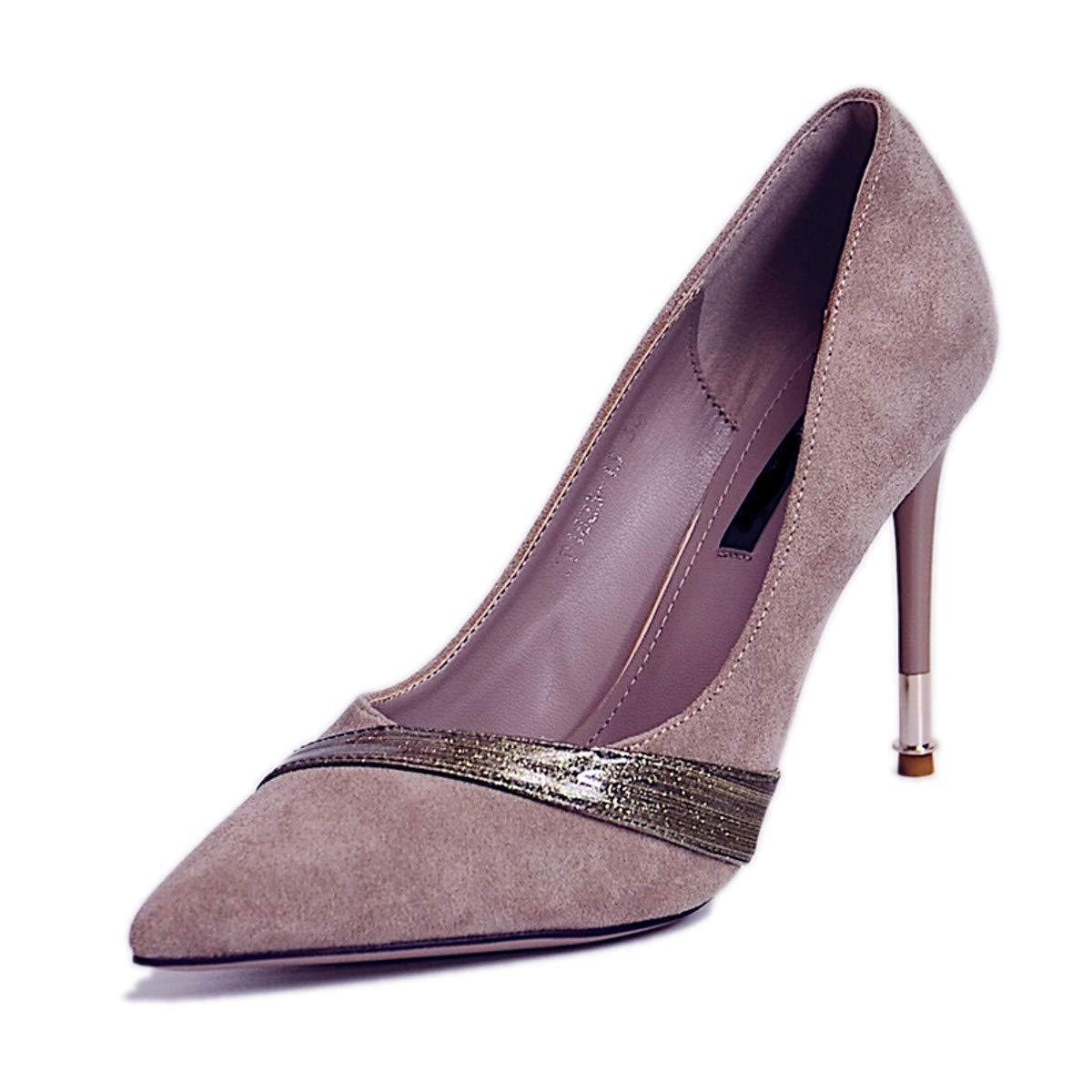 LBTSQ-Einzelne Schuhe Flachen Mund Farbabstimmung Scharf Darauf Dünne Sohle 10Cm Hochhackigen Schuhen Temperament Damenschuhe