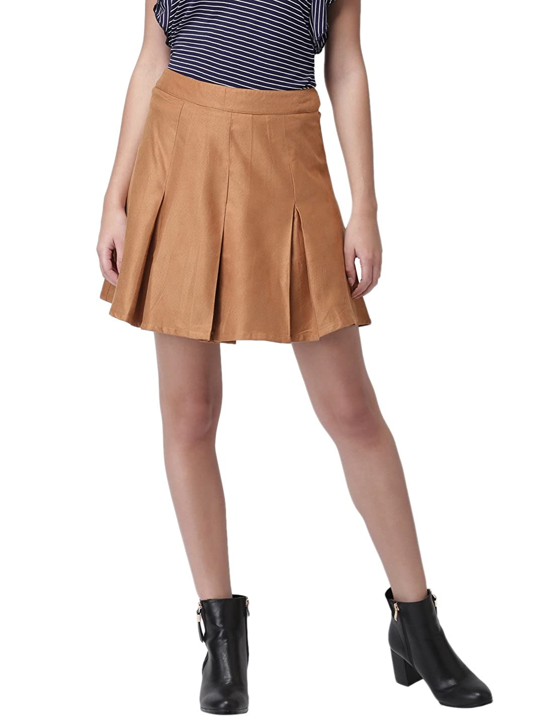 df8d404504 Design: Brown Artificial Suede Short Skirt. Inverted Box pleats for style  with a broad waistband on top. Zipper at the centre back for fastening and  ease.
