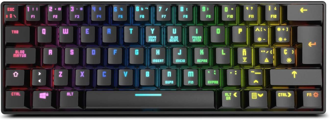 Krom KLUSTER - NXKROMKLSTRSP - Teclado Gaming mecánico RGB, Bluetooth 5.0 y USB, diseño en formato 60%, compatible Windows, Android, IOS y MAC, color ...