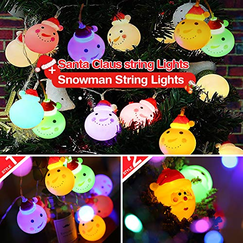KYW Christmas String Lights, Santa Claus String Lights + Christmas Snowman String Lights 10 LED 4.9ft Battery Operated for Thanksgiving, Garden,Christmas Tree.(Colorful) (Lights Snowman Christmas)