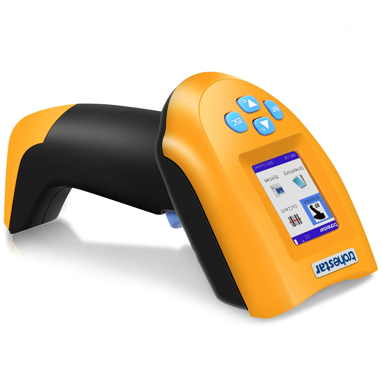 TroheStar 433Mhz Wireless Barcode Scanner, 1D USB Handheld Bar Code Reader Laser Cordless Automatic Bar Code Scanner and Collector Portable Data Terminal Inventory Device with TFT Color LCD Screen