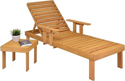 costway Tumbona con mesa de bandeja y tumbonas Mendler playa – Tumbona Piscina madera Tumbona de jardín con mesa auxiliar mesa anstell mesa consola mesa Café mesa Balcón Mesa Mesa de madera: