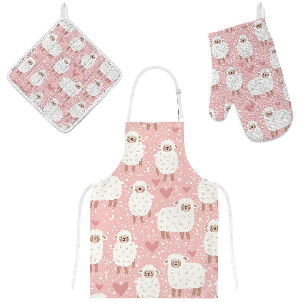 Top Carpenter Polyester Kitchen Oven Mitts Glove Potholder Apron 3Pcs Set White Sheep On Pink Non Slip Heat Resistant Mitts for Baking Cooking BBQ