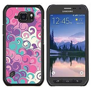 Caucho caso de Shell duro de la cubierta de accesorios de protección BY RAYDREAMMM - Samsung Galaxy S6Active Active G890A - Arte azul del trullo Pintura Modelo blanco