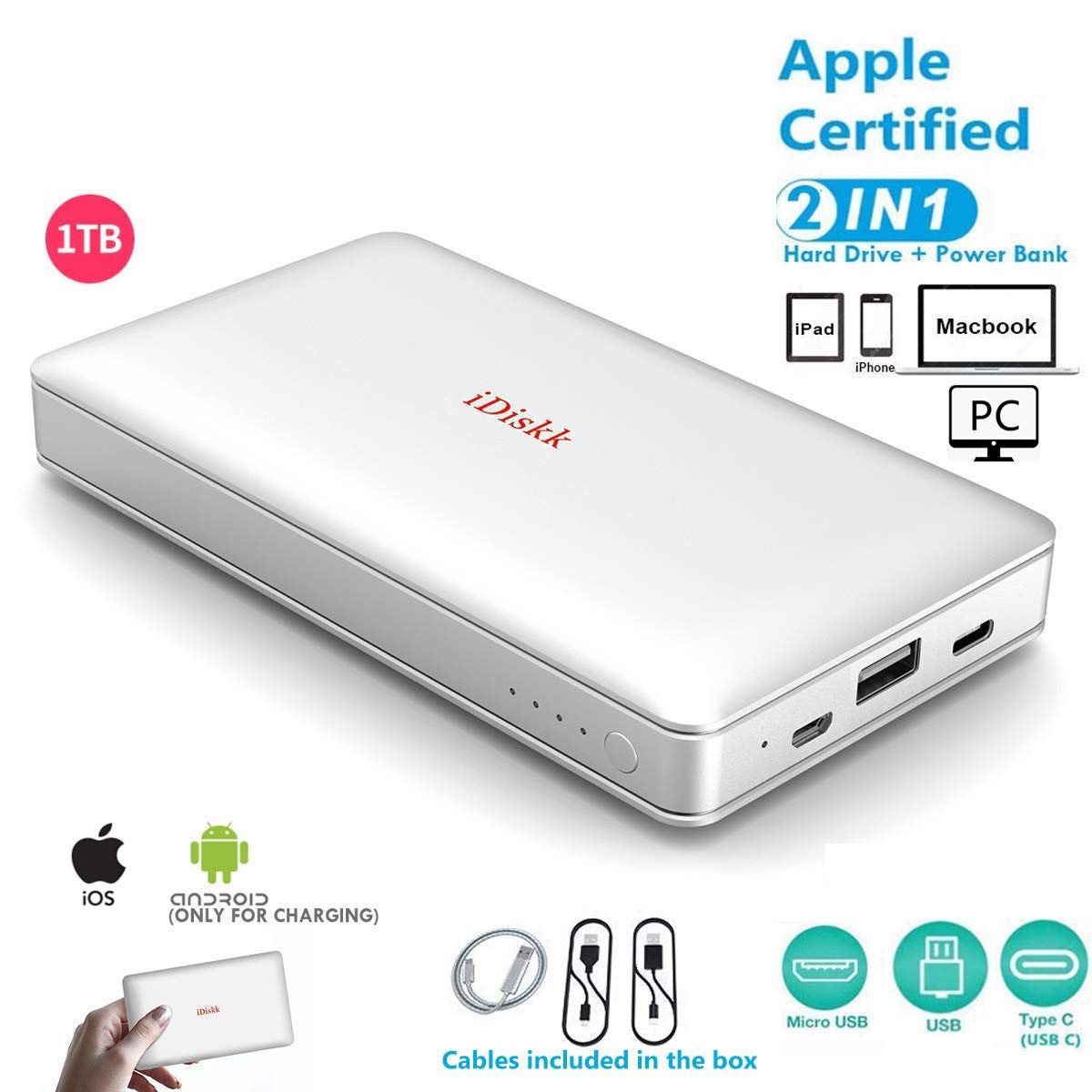 1000GB (1TB) Hard Drive External Storage for iPhone 11/6/7/8,X,XR,XS MAX,new iPad Pro and MacBook and PC,USB+USB C Data Photos Backup Flash Drive (APP management for iOS 11/12/13),iDiskk MFi Certified by iDiskk