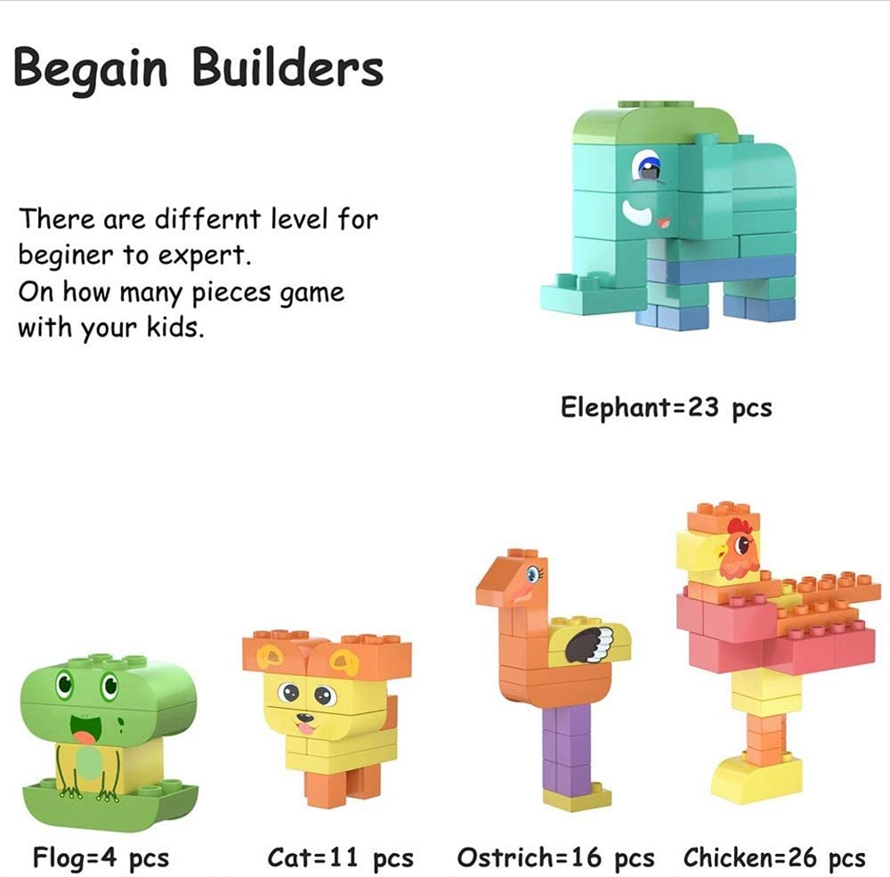 TUMAMA 150 Pcs Kids Toys Large Building Block Sets DIY Big Bricks Animals Creative Model Block Particles Bricks Educational Stem Toy Gifts Sets for Children 3 4 5 6 Years Old