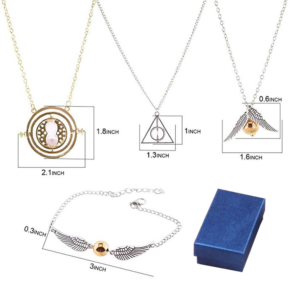 4 PCS Necklace Bracelet Set Time Turner Deathly Hallows Golden Snitch Necklace for Movie Fans Gifts Collection Magical Cosplay Costume Jewelry Gifts for Boys Girls Yosbabe