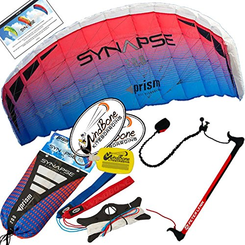 Prism Synapse 200 Coho Kite w Control Bar Bundle (4 Items) + Peter Lynn 2-Line Control Bar w Safety Leash + WindBone Kiteboarding Lifestyle Stickers + WBK Key Chain - Kiteboarding Trainer Kite Kit by Prism Power Kites, Peter Lynn, WindBone