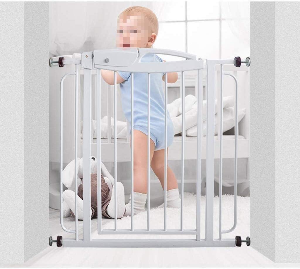 ペット ゲート ベビーゲート ペットセーフティゲート鉄パイプフェンスゲートペットセーフティガードダブル階段やドアのインストールが簡単にロック