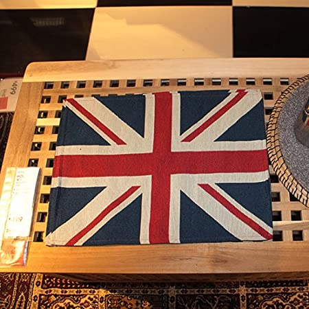 4 Placemat OLizee British Style Union Jack Household Accessories Home Decor