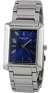 Kenneth Cole New York Mens Blue Analog Rectangular Watch Steel Bracelet 10031345