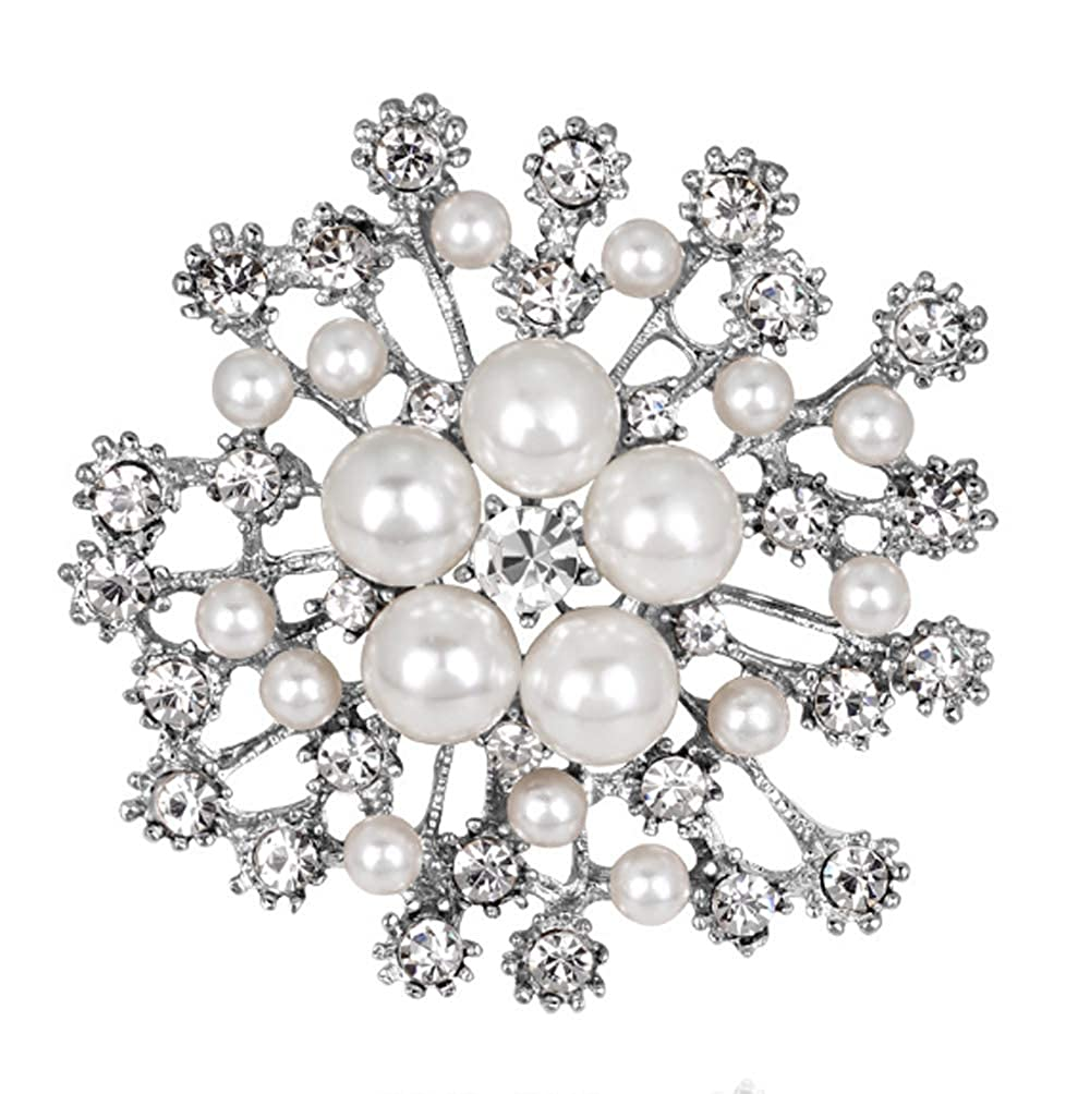 Corsage Bouquet Simulated Pearl Scarf Clips Brooches Pins White Floral Brooch Pin
