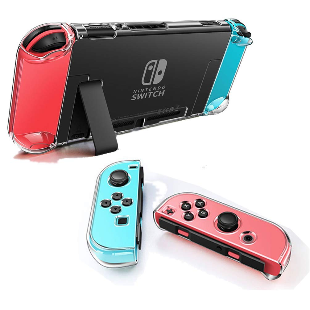 Dockable Clear Case for Nintendo Switch, VANJUNN 3 in 1 Protective Case Cover for Nintendo Switch and Joy-Con Controller with Clear Grip Cover Shock-Absorption and Anti-Scratch Design( Crystal Clear)
