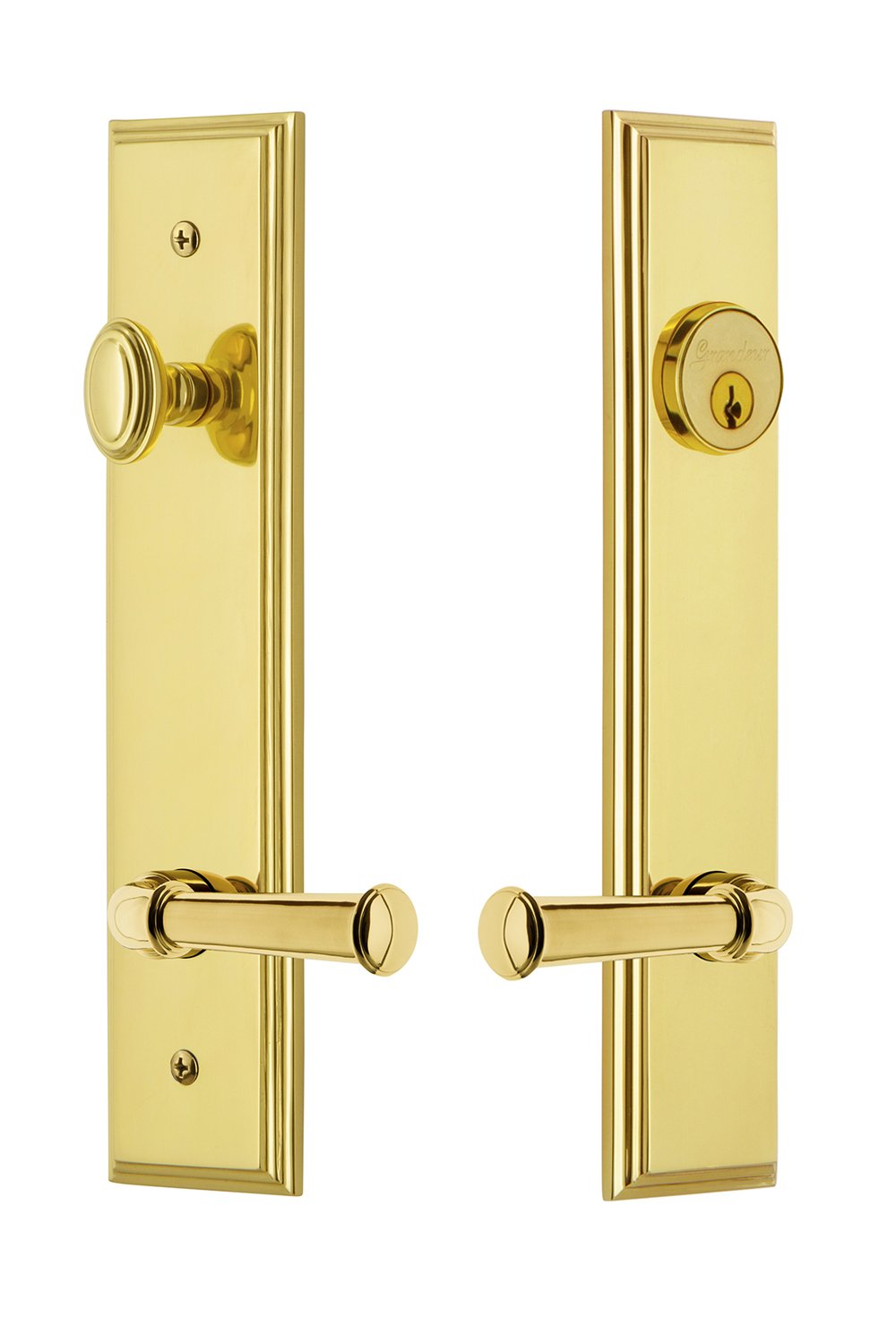 2.75 Polished Nickel Grandeur Hardware 841359 Carre Tall Plate Complete Entry Set with Georgetown Lever Backset Size