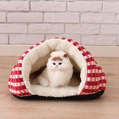 DoMyfit Cama para Mascotas con Capucha Cubierta para Perro, cálida Cama para Mascotas para Gatos