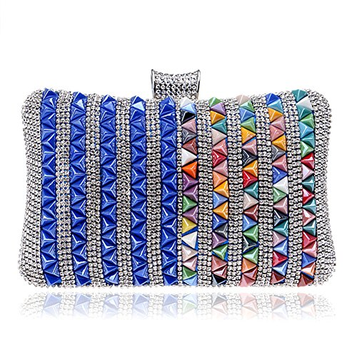 Banquet Chain Party Diamond Shoulde Evening Clutch Dress Wedding Women MGH Blue Colorful zqFt4n