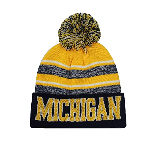 c02f98db943 Michigan Men s Blended Stripe Winter Knit Pom Beanie Hat (Gold Navy ...