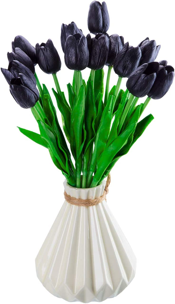 IEsafy 20pcs Black Artificial Latex Tulips Fake Flowers for Party Home Decoration (Vase inot Included)