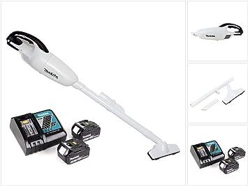 Makita DCL 180 RM W - Aspiradora con batería de ion de litio (18 V, 2 baterías de 4,0 Ah, cargador), color blanco: Amazon.es: Bricolaje y herramientas