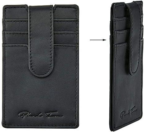 Mens Womens Genuine Leather Money Clip Card Case Holder Slim Wallet Front Pocket