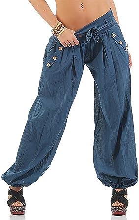 Pantalones Harem Mujer Primavera Otono Pantalones De Tiempo Libre Elegantes Moda Pantalon Anchos Color Solido Basic Ropa Pantalon Dos Bolsillos De Pantalon Doble Botonadura Pantalones Aladdin Ropa Amazon Es Ropa Y Accesorios