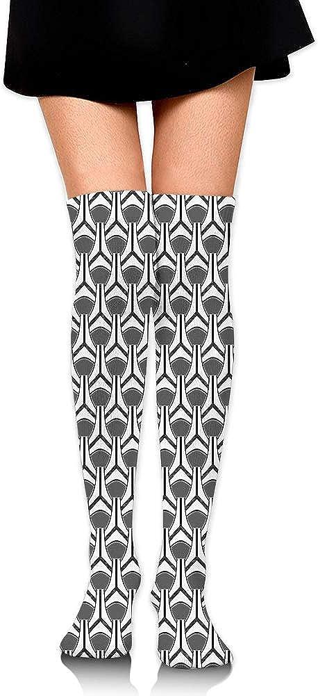 Geometric Ovals and Stripes in Achromatic Minimalist Tones Print,60CM Over Knee High Socks