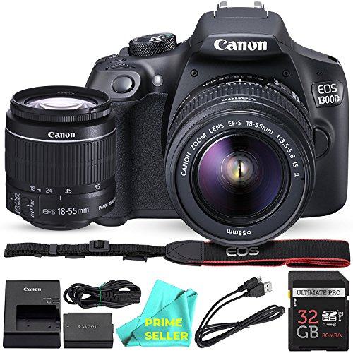 Canon EOS T6 / 1300D with EF-S 18-55mm 18.7MP CMOS 5184 x 3456 Pixels (Black) + 32GB SD Card + PRIME SELLER Camera Cleaning Cloth by Prime Seller