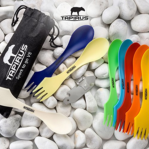 Tapirus Spork to Go V8 Set | 8 Colorful Durable & BPA Free Tritan Sporks | Spoon, Fork & Knife Combo Utensils Flatware Mess Kit for Camping & Outdoor Activities | with Bottle Opener & Carrying Case by Tapirus (Image #8)