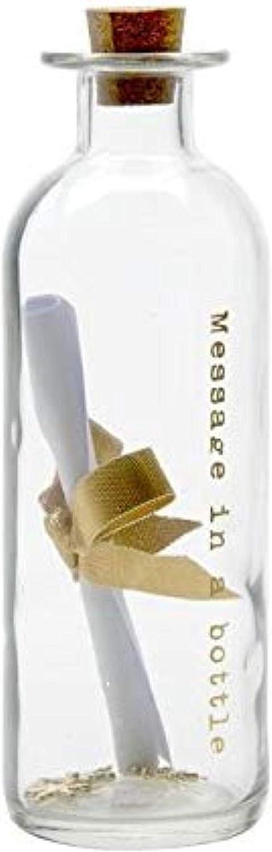 Botella de cristal con grabado «Message in a bottle» en dorado. Escribe un mensaje y enróllalo. Ideal para bodas y bodas de oro, 17cm